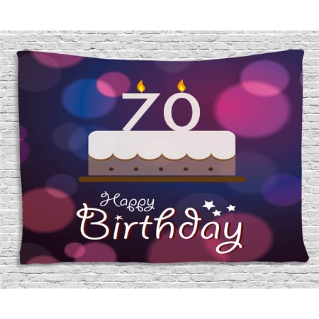70th Birthday Decorations Tapestry, Cartoon Style Birthday Party Cake Abstract Backdrop Image, Wall Hanging for Bedroom Living Room Dorm Decor, 60W X 40L Inches, Purple and Lilac, by Ambesonne - 70th Decorations