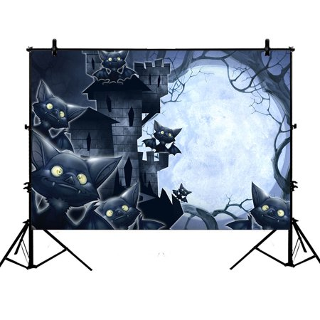 YKCG 7x5ft Halloween Castle Funny Bats Full Moon Night Photography Backdrops Polyester Photography Props Studio Photo Booth Props](Funny Halloween Photo Editing)