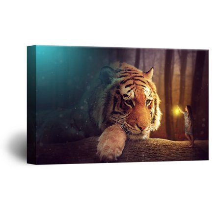 wall26 Canvas Wall Art - Head of a Tiger with a Girl - Giclee Print Gallery Wrap Modern Home Decor Ready to Hang - 24x36 inches (Girl Giclee Canvas)