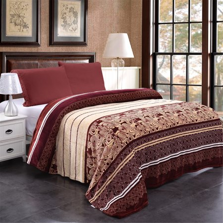 Soft Plush Flannel Golden Stripe Printed Lightweight Large Throw Blanket  For Sofa Bed 79\
