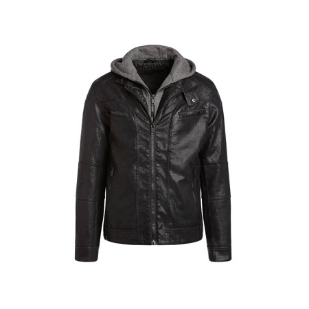 Alta MILJ120 Men's Faux Leather Moto Jacket - Black (Mens Insulated Leather)
