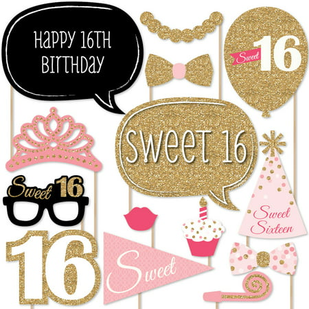 Sweet 16 Birthday - Photo Booth Props Kit - 20 Count - Sweet 16 Theme Ideas List