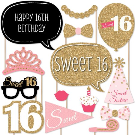 Sweet 16 Birthday - Photo Booth Props Kit - 20