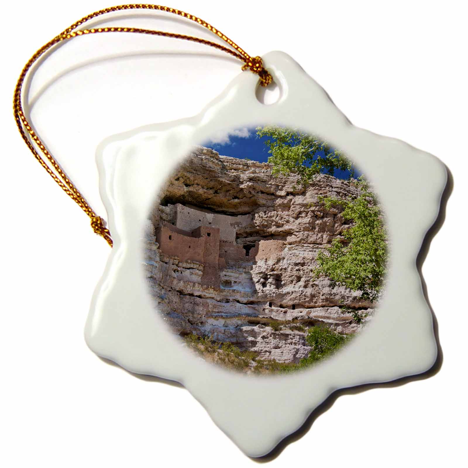 3dRose USA, Arizona. Montezuma Castle, Native American cliff dwellings. - Snowflake Ornament, 3-inch