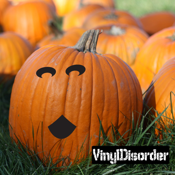 Halloween Pumpkin Happy Scary face Holiday Vinyl Wall Decal Mural Quotes Words 08FACEH52 36 Inches