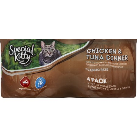 Special Kitty Classic Pate Chicken and Tuna Dinner with Complete and Balanced Nutrition, 5.5 Oz. Cans (24 Pack)