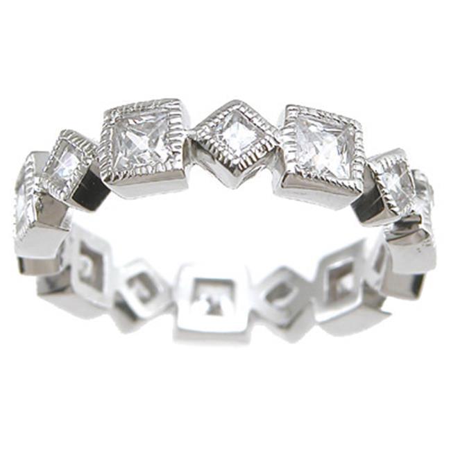Plutus kkr6443b 925 Sterling Silver Rhodium Finish CZ Princess Eternity Wedding Band Size 7