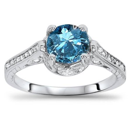 2 1/4ct Treated Blue & White Diamond Vintage Engagement Ring 14K White Gold - image 4 de 4