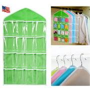 16 Pockets Clear Over Door Hanging Bag Shoe Rack Hanger Underwear Socks Bra Closet Storage Tidy Organizer