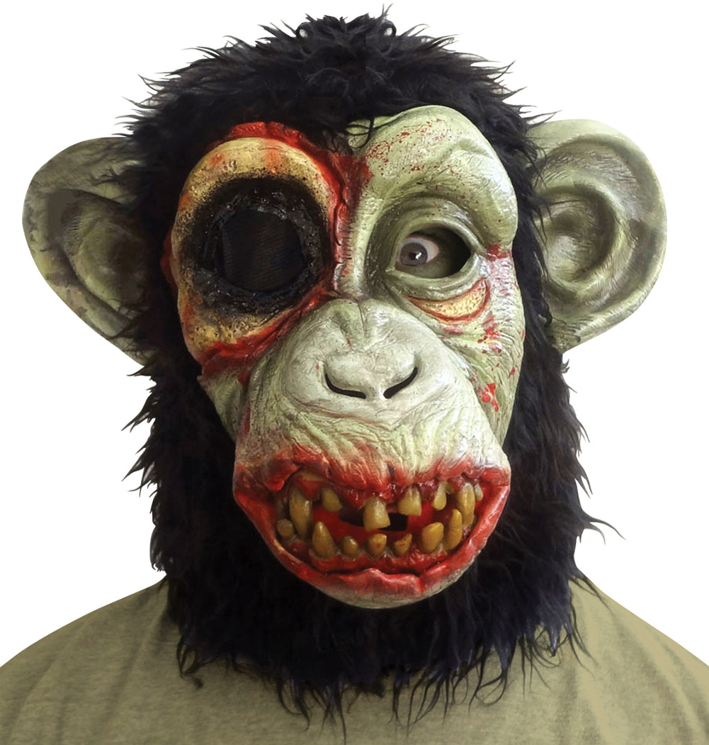 Adult Ferocious Fangs Deluxe Zombie Monkey Scary Animal Mask Accessory