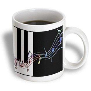 Colored Ceramic - 3dRose Muli colored Music Notes on Piano Keys, Ceramic Mug, 11-ounce