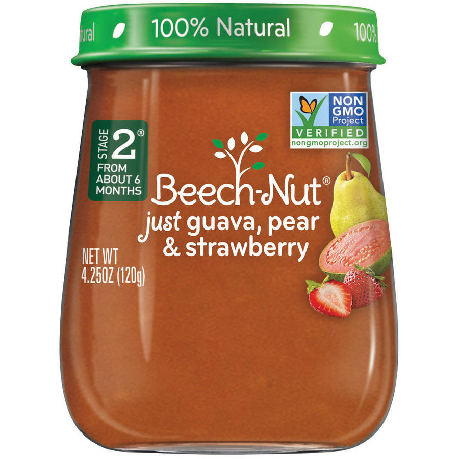 Beech-Nut Naturals Stage 2 Just Guava, Pear & Strawberry Baby Food, 4.25 oz, (Pack of 10)
