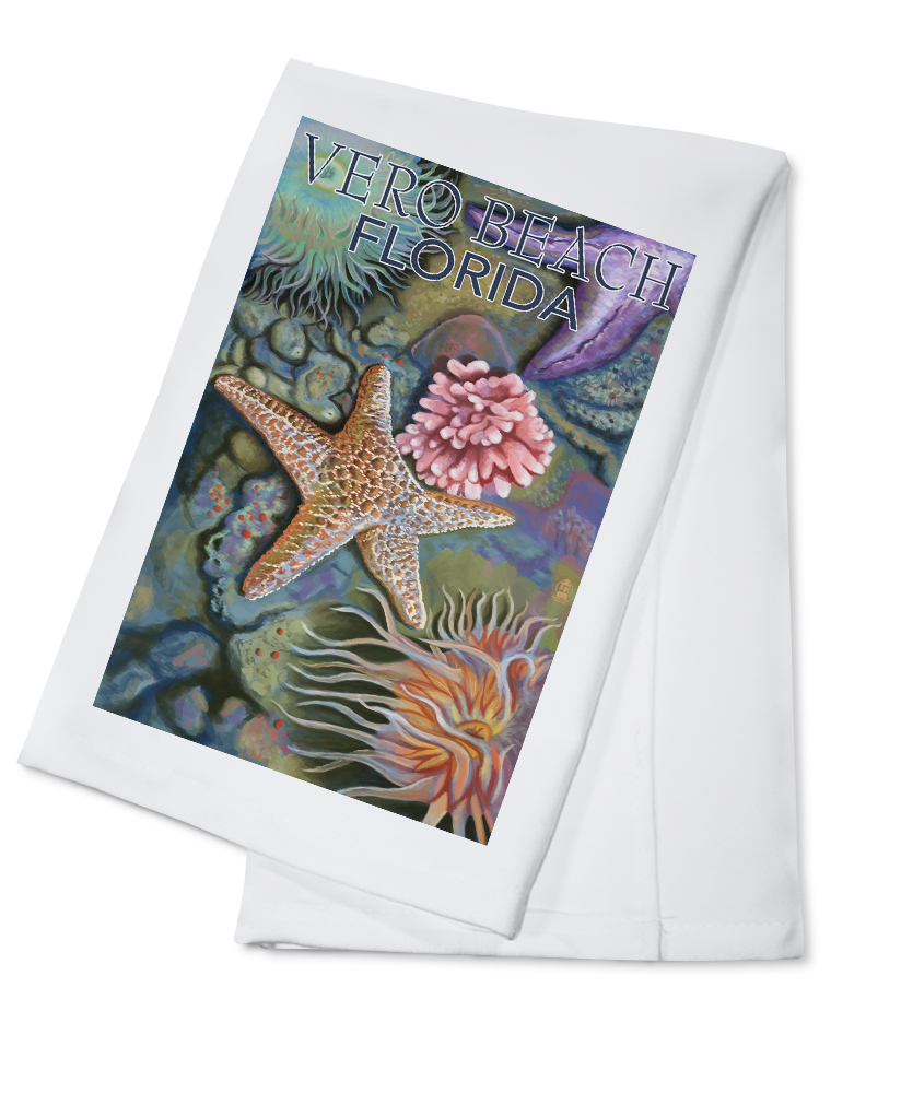 Click here to buy Vero Beach, Florida Tidepools Lantern Press Artwork (100% Cotton Kitchen Towel) by Lantern Press.