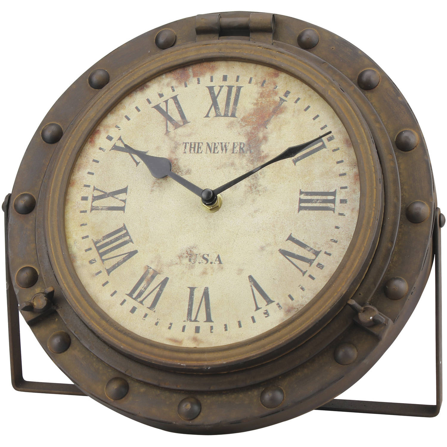 Era Rustic Round Tabletop Clock