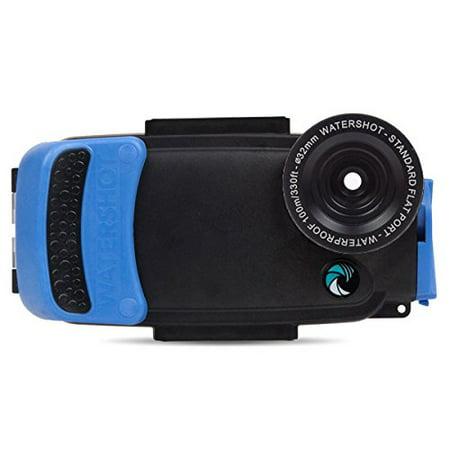 Watershot PRO Underwater Smart Phone Camera Housing for iPhone 6/6s Plus (Black/Snorkel Blue) (flat lens (Flat Lens Housing)