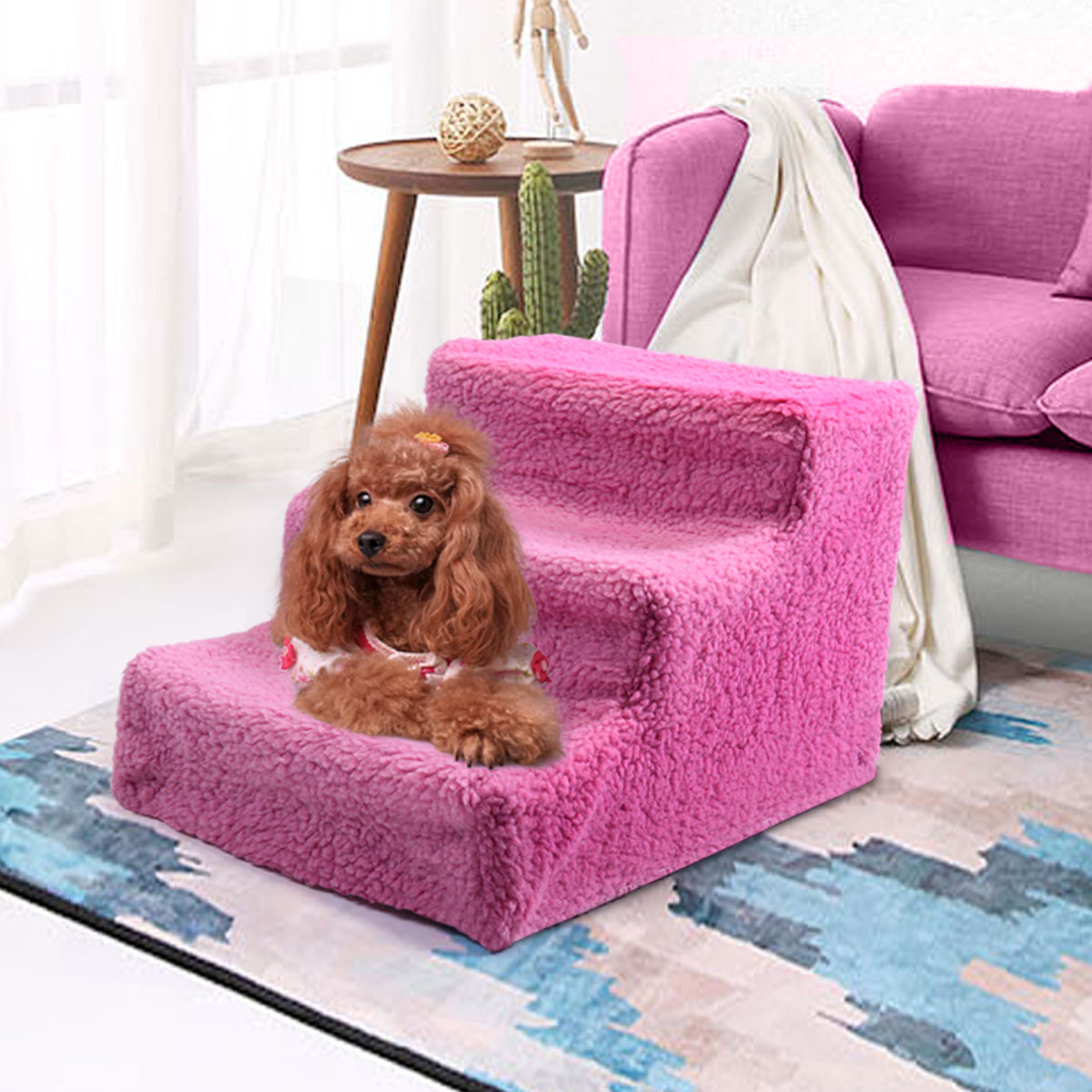 Pet Stairs 3 Steps Indoor Dog Cat Steps Removable Washable Pets Ramp Ladder  Pink