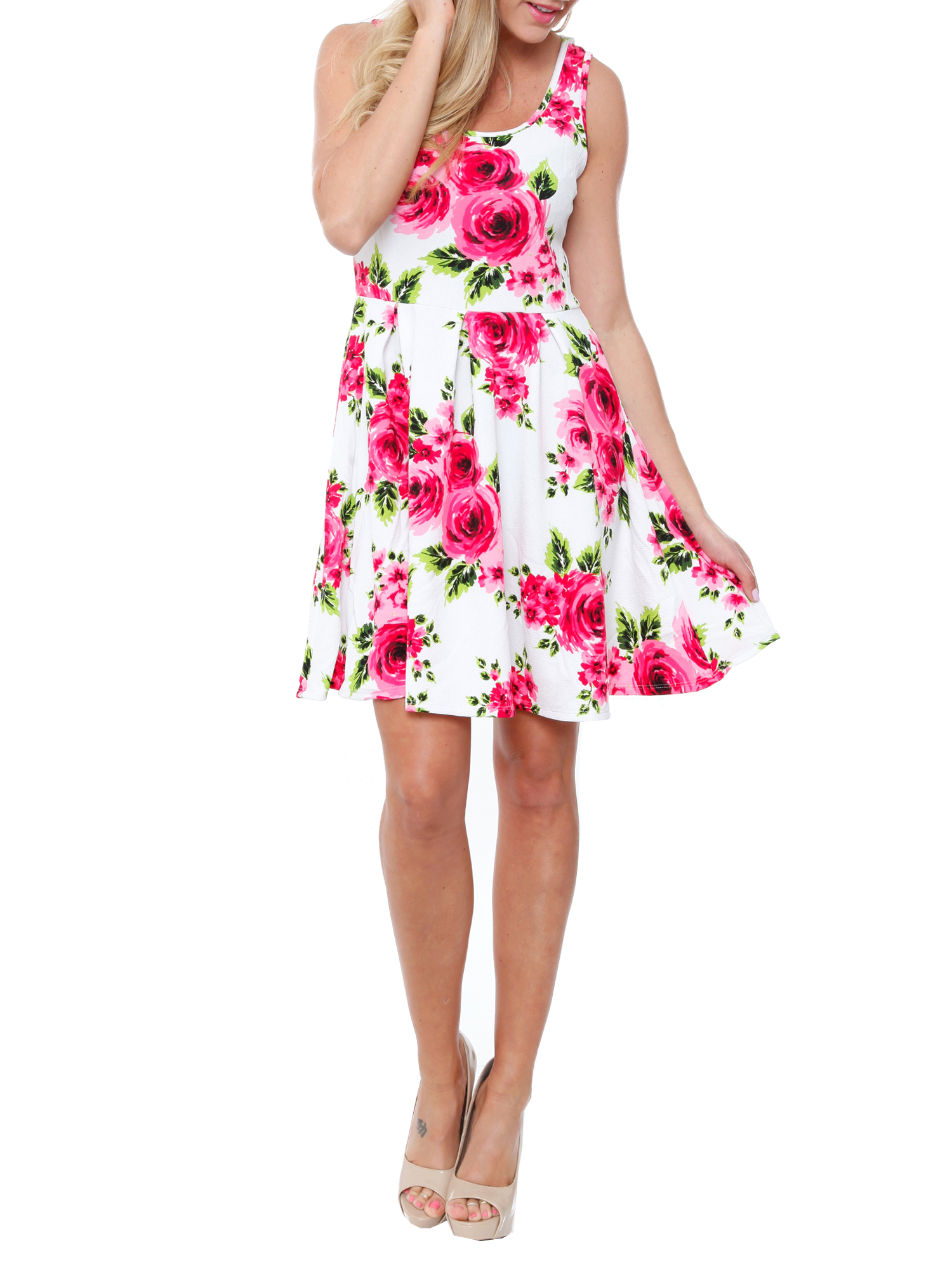 Women's Floral Fit and Flare Mini Dress