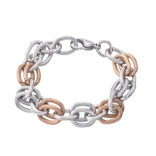 Ever One Women's Stainless Steel Two-tone Textured Link Bracelet By