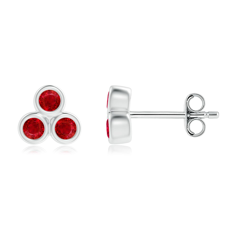 Angara Bezel Set Ruby Trio Cluster Stud Earrings in Silver by Angara.com
