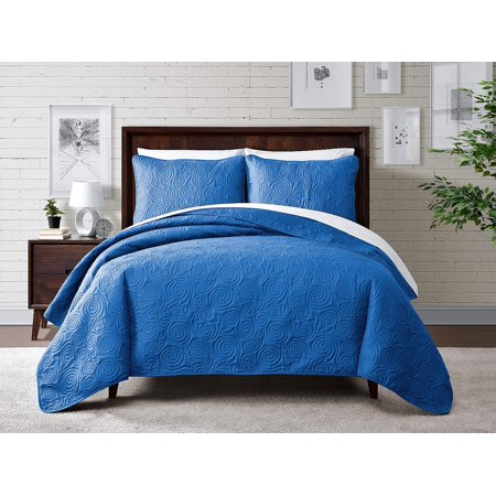 Cozy Home Dream Swirl Pinsonic Quilted Solid Color 3-Piece Quilt Set with Shams-Blue-Full/Queen ()
