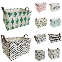 "HIYAGON Storage Baskets, 15""L x 10""W x 9""H Cotton Toy Storage Bins with Stylish Pattern for Home Organization, Gift Basket, Kid's Toy Organizer, Shelf Basket ( Rectangular - Black Inverted Triangle )"