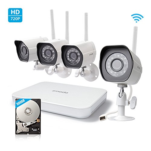 Zmodo Wireless Indoor Outdoor Smart Home Security Camera System 4CH NVR System 500 GB Hard Drive