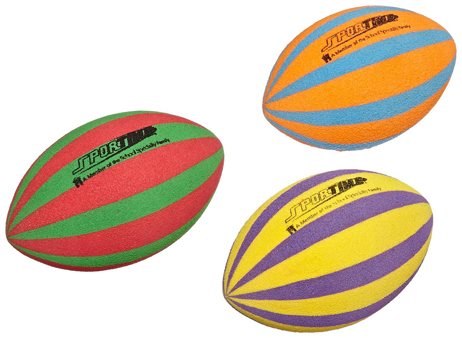 Waterproof Striped Training Football Set of 3 Assorted Colors, Set of 3 By Ultrafoam by