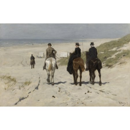 Morning Ride Along The Beach By Anton Mauve 1876 Dutch Painting Oil On Canvas Three Bourgeois Riders Descend To The Beach Where The Bathing Cabins Stand Ready For Swimmers Poster Print
