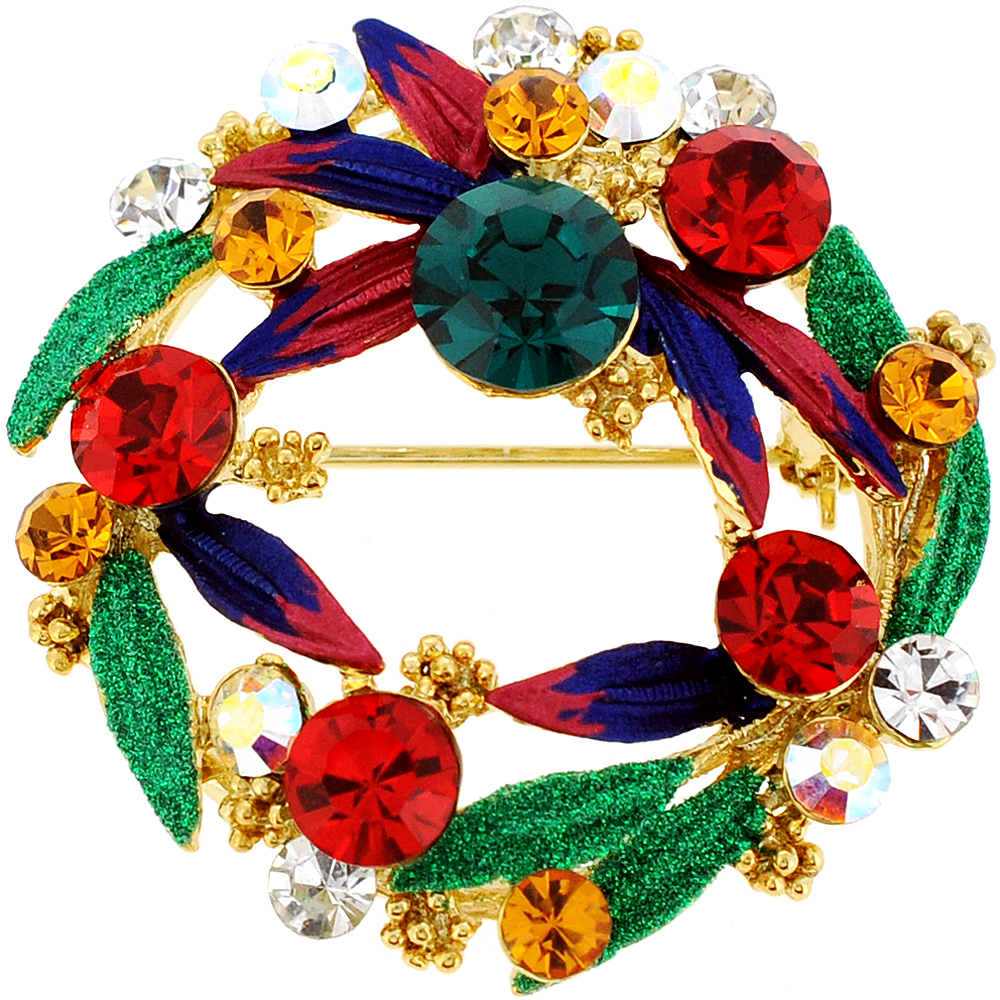 Multicolor Christmas Wreath Swarovski Crystal Pin Brooch And Pendant by