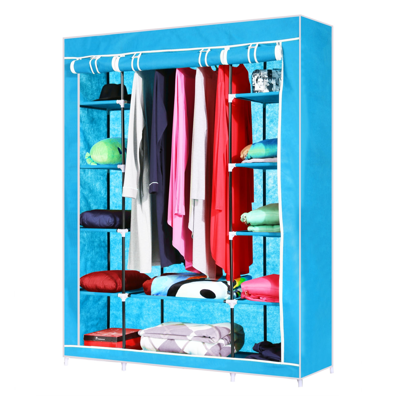 Homdox 52���Portable Closet Storage Organizer Wardrobe Clothes Rack With Shelves