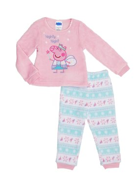 Peppa Pig Toddler Girl Long Sleeve Top & Joggers Pajamas, 2Pc Set