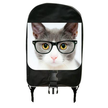 Kitten in Glasses - Large Black School Backpack