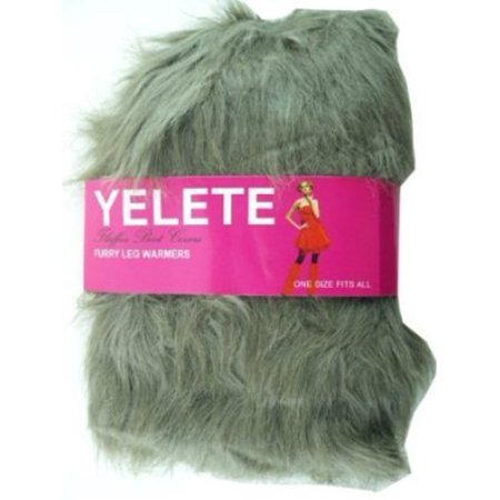 Lady's Furry Leg Warmers With Ball Tassels - Yelete Fluffy Boot Cover (Brown) (Cheap Furry Leg Warmers Boot Covers)