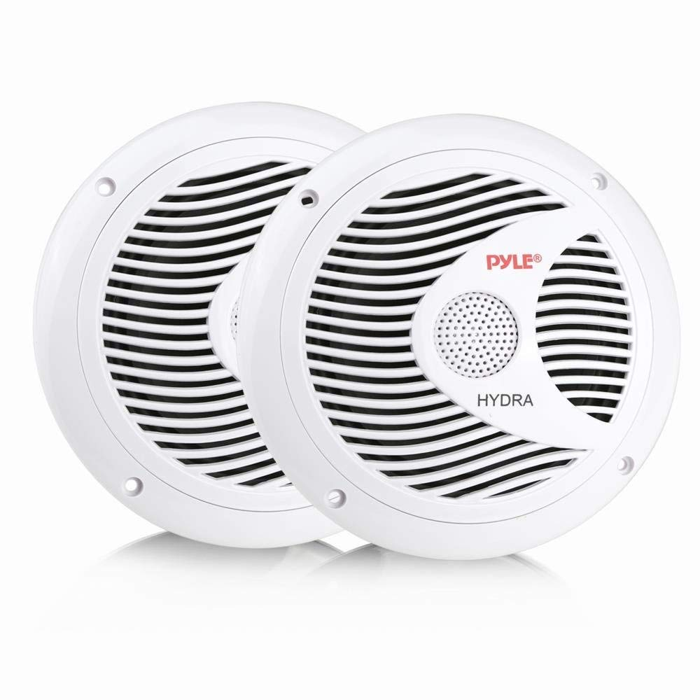 PYLE PLMR60W - 6.5 Inch Dual Marine Speakers - 2 Way Waterproof and Weather Resistant Outdoor Audio Stereo Sound System with 150 Watt Power, Polyprone Cone and Cloth Surround - 1 Pair - (White)