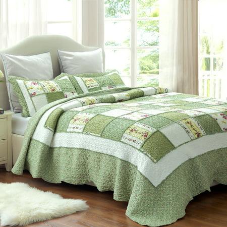Bedsure 3 Piece Green Floral Patchwork Ruffle Full/Queen Bedspread & Sham Bedding Set ()
