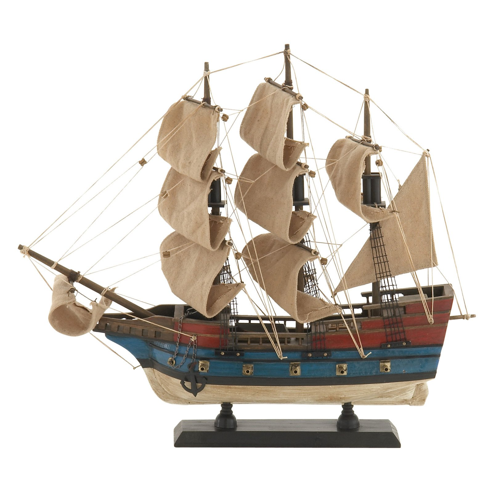 Decmode Wood Sailboat, Multi Color