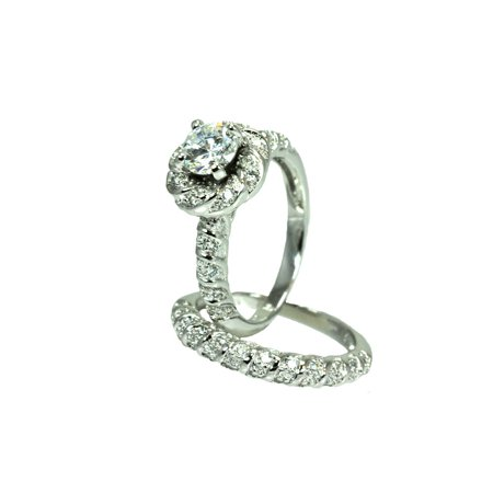 Sterling Silver Rhodium Plated Micro Pave Set Clear Square Center Cz Flower Engagement Ring Set  Moon Collection