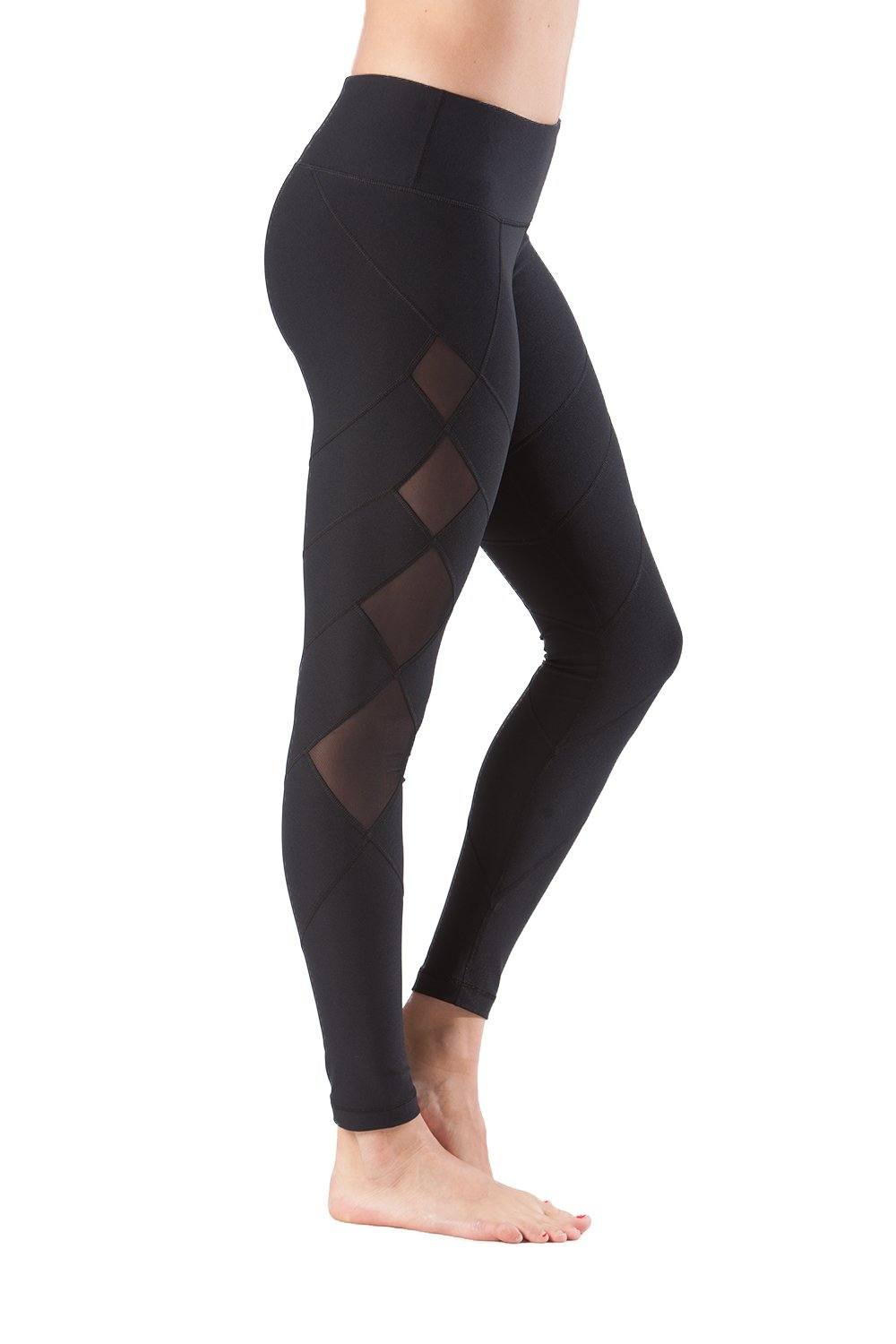 90 Degree By Reflex - Mid Calf Mesh Striped Legging