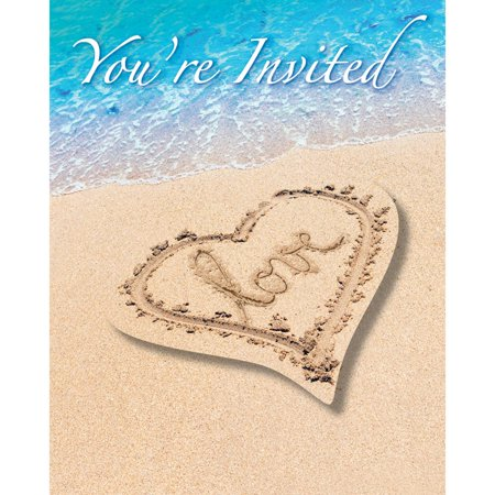 Beach Party Invitations (Club Pack of 48 Beach Love Heart Paper Party Invitation)