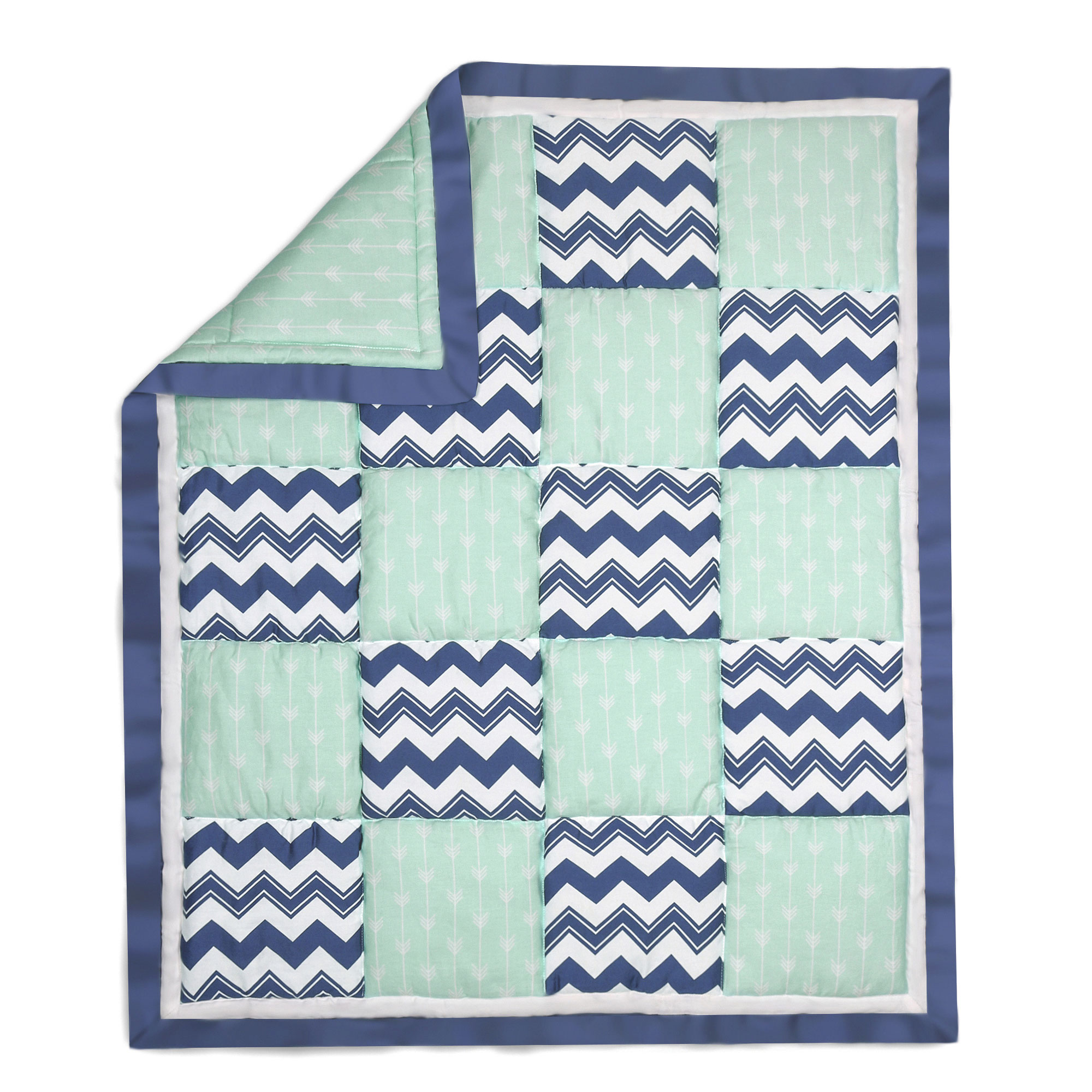 The Peanut Shell Baby Crib Quilt - Navy Blue and Mint Green Zig Zag Patchwork - 100% Cotton Sateen Fabrics, 44 by 37 Inches