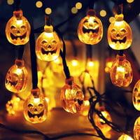 3D Halloween Pumpkin String Lights, 19.7ft 30 LED Solar Powered Outdoor Waterproof Pumpkin Light for Home Patio Garden Yard Decoration – Warm White