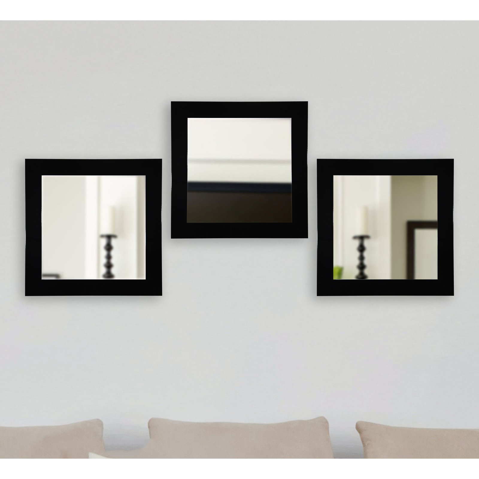 Rayne Mirrors Delta Square Wall Mirror - Set of 3
