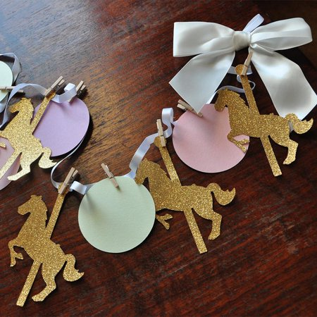 Carousel Horse Party Decorations. Handcrafted in 1-3 Business Days. Merry-go-round Garland. Carousel Decorations.