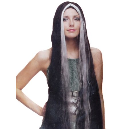 Womens Long 36 inch Black & White Wig Long Streaked Black & Gray Hair Vampiress - Vampiress Wigs