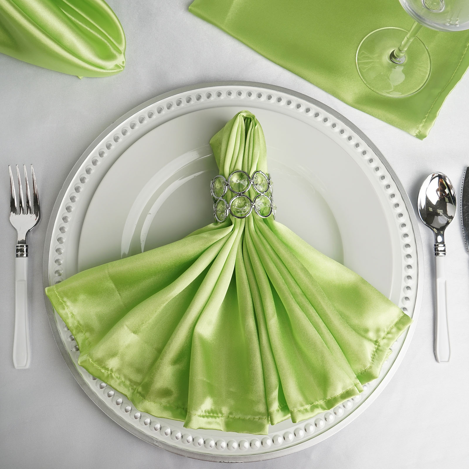 BalsaCircle 5 pcs 20 inch Satin Napkins Table Top Decorations for Party Wedding Events Restaurant Catering Dinner Home