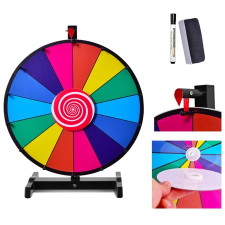 Costway 18'' Tabletop Editable Dry Erase Color Prize Wheel 14 Slot Fortune Spinning (Prize Wheel)