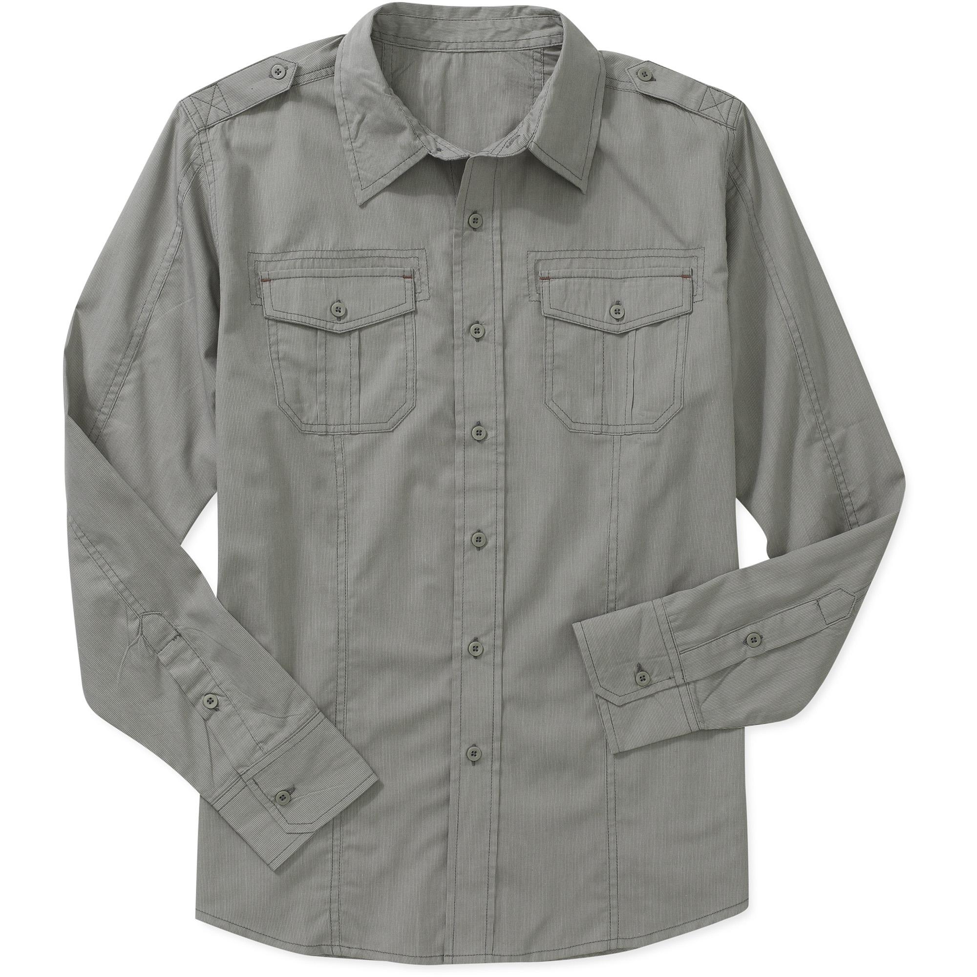 No Boundaries Big Men's Yarn Dye Stripe Woven Shirt