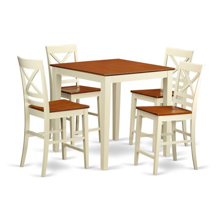 East West Furniture Vernon 5 Piece Cross-And-Ladder Dining Table Set ()