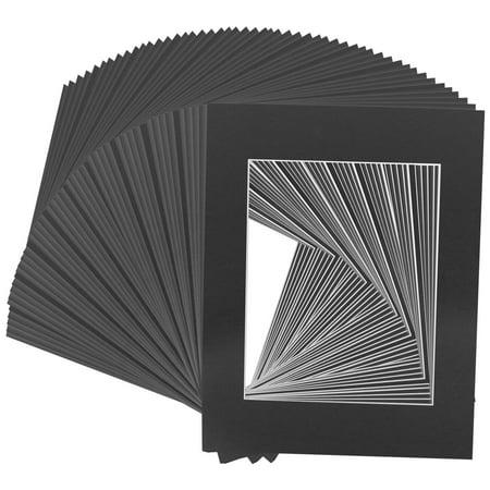 50 Art Mats Premier Quality Acid-Free Pre-Cut 11x14 Black Picture ...