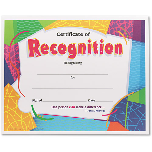 TREND Certificate of Recognition Awards, 8-1/2 x 11, 30/Pack